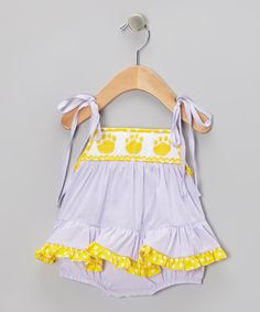 Purple & Yellow Gingham Paw Bubble Romper - Infant by Smock Candy. This could work for LSU baseball games and the first LSU football games when temps in LA are still sweltering! :)