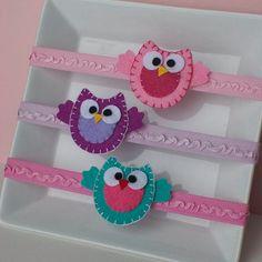 Felt Owl Ruffled Headband- Choose Pink, Purple, or Aqua