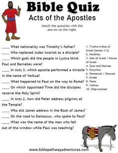 Printable bible quiz - Acts of the Apostles