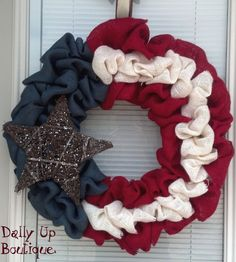 Burlap Wreath. Red  CreamWhite and Navy Blue by DallyUpBoutique, $39.00