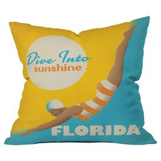 Throw pillow with Florida motif by Anderson Design Group for DENY Designs. Made in the USA.  Product: PillowConstruction ...