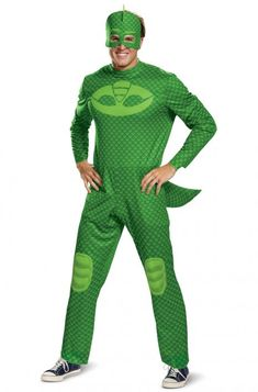 Boys Deluxe Pj Masks Gekko Costume 5-6 Years Fancy Dress Superhero Kids Uk