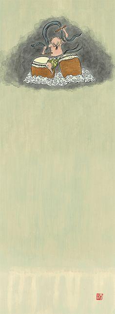 猫雷神 #illustration #イラスト #絵 #和風 #猫 #雷