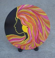 Painted Record Woman Profile Wild Hair Big Earring Orange Pink Yellow Abstract Silhouette Vintage Stand