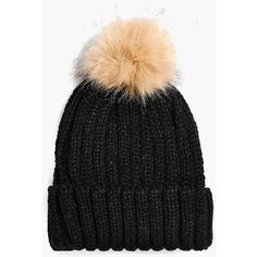 Anya Faux Fur Pom Rib Knit Beanie Hat (92 PHP) ❤ liked on Polyvore featuring accessories, hats, ribbed knit hat, faux fur pom pom beanie, rib knit beanie, faux fur hat and pom pom hat