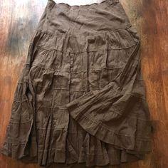 Eyeshadow Womens Tiered Skirt 5 Cotton Peasant Boho Ruffle Brown Career Wear  #Eyeshadow #Maxi