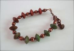 Copper ombre bracelet polymer clay saucers in by HummingBirdEggs