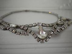 Vintage Rhinestone Necklace- 15 inches