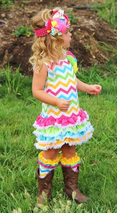 Cutest Rainbow Chevron Ruffle Dress-