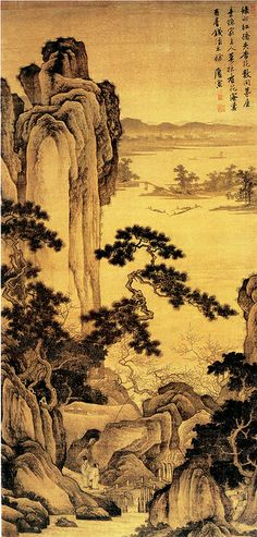 Painted by the Ming Dynasty artist Tang Yin 唐寅(伯虎) View paintings, artworks and galleries at Chinese Art Museum. Learn about Chinese history and art at China Online Museum. Chinese Landscape Painting, Japanese Landscape, Japanese Painting, Landscape Art, Landscape Paintings, Traditional Paintings, Traditional Art, Samurai, Art Chinois