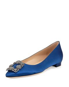 Hangisi Crystal-Buckle Satin Flat, Cobalt by Manolo Blahnik at Neiman Marcus. Wedding Shoes, Dream Wedding, Wedding Ring, Women's Loafer Flats, Oxfords, Manolo Blahnik Hangisi, Chiffon Dress Long, Office Shoes, Fashion Heels