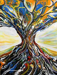 Original art for sale at UGallery.com   Tree of Light by Piero Manrique   $1,850   acrylic painting   40' h x 30' w   http://www.ugallery.co...