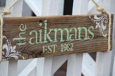 Reclaimed Wood Custom Family Last Name Sign by DocksideCottage, $39.99