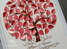 Coral Wedding Guest Book Ideas - Love birds 3d tree - Modern alternative to traditional guestbook - Ivory and Coral