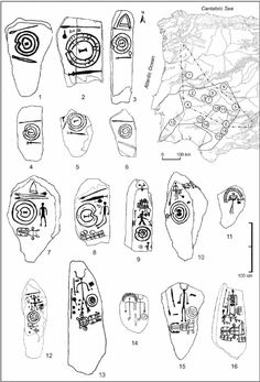 Figure 6. Schematic drawings of selected stelae and statue-menhirs representative of the various stylistic traditions attributed to the Late Bronze Age and beginning of the Iron Age. Basic stelae (types IIa and IIb of Pingel): 1, Baraçal 1; 2, Brozas; 3, Santa Ana de Trujillo; 4, Granja de Céspedes; 5, Aldea del Rey 1; 6, Ribera Alta/Córdoba 2. Stelae with human figure (type IIc of Pingel, including versions with headdress or ' diadem ' ): 7, Zarza de Montánchez; 8, Solana de Cabañas; 9…