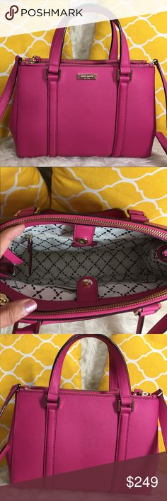"OFFERS?Kate Spade All Leather Pink Satchel AuthenticExcellent shape. Minimal sign of use. Features 3 main compartment center snap to close the bag and the others are zipped, removable/adjustable strap, 3 pockets inside, gold hardware and metal feet for protection. Sides can be unbuttoned for more room when needed. It's the perfect size for going out. Carry it by arm/hand, shoulder or crossbody. Comes with care card and dustbag. Don't be shy to make an offer Dimensions: L11"" H8.5"" Bottom…"