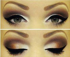 brown eye shadow and black eyeliner