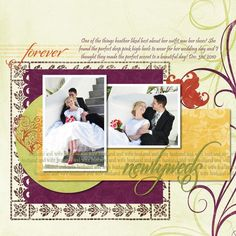 Forever Newlyweds Wedding Romantic Autumn Digital Scrapbooking Layout from Creative Memories
