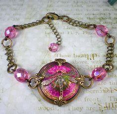 Dragonfly Bracelet Raspberry Pink Czech Glass by milminedesign