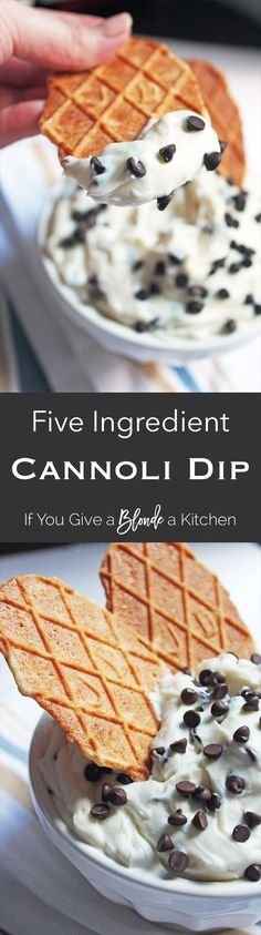 Easy homemade cannoli dip with wafer cookies. You only need five ingredients and five minutes! | Recipe by @haleydwilliams