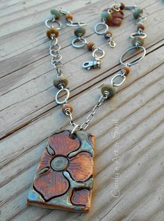 Rustic Flower Pendant Necklace Porcelain Clay- $129 by ArtandSoulJewelry