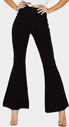 Black High-rise Flared Hem Wide Leg Pants