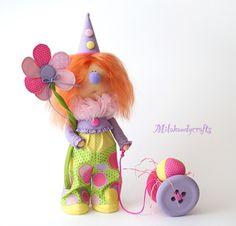 Купить Клонюня - кукла ручной работы, клоун, клоунесса, цирк, подарок на день рождения