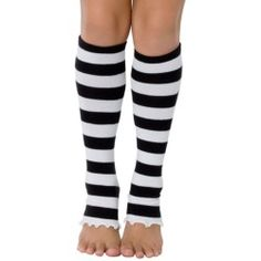 Girls Black Striped Leg Warmers - Leg warmers