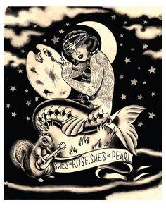 Flapper Coney Island Mermaid Tattoo Print by MissMartinTattoos, $15.00