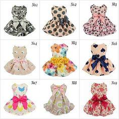 Fitwarm Adorable Print Dog Dress Pet Clothes Princess Shirt Bow Apparel Skirt