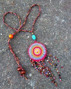 MandalaNecklace - Jewelry Fiber Art - Unique Handmade Necklace - Boho Hippie Gypsy Festival Fairy Accessory