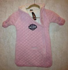 New Infant Baby Girls Harley Davidson Pink Velour Bundle Sac Bunting