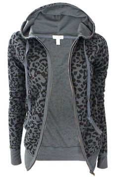 Just a basic animal print, thermal hoodie, but so cute!