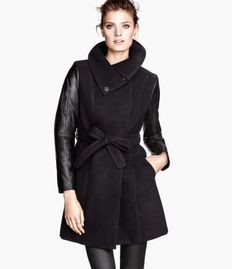 H&M Short Coat, $49.95 | 21 Leather-Sleeve Coats For Every Budget