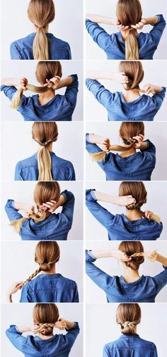 Tutorial on how to create a low braided bun style . - - Kristina VVe - Tutorial on how to create a low braided bun style . - Tutorial on how to create a low braided bun style . Braided Bun Styles, Braided Updo, Updo Styles, Low Chignon, Chignon Hair, Braid Thin Hair, Fishtail Plaits, Box Braid, Lazy Hair Updo