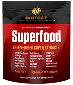 Product review for Biotest® Superfood Blend of 18 Berries, Fruits, and Vegetables (140 g) Freeze-Dried Super Concentrated Extracts  - FREEZE-DRIED SUPER CONCENTRATED EXTRACTS BERRIES: wild blueberry (1.5% anthocyanin), orange (40% vitamin C), raspberry (20% allagic acid, 0.7% anthocyanins), strawberry, acai berry (1.5% total phenolic acids, 1% anthocyanins), coffee berry (50% total phenolic acids), goji berry, pomegranate (40%...