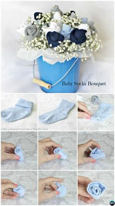 DIY Baby Socks Flower Bouquet-Handmade Baby Shower Gift Ideas Instructions