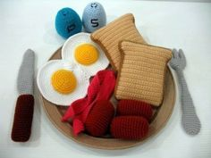 comida de juguete al crochet