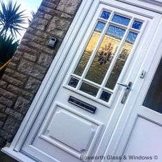 Our Blue Fused Flower design UPVC door looks great, we installed this one on a property on Portland, Dorset. www.bosworthglass.com 01305 769227