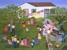 Barbacoa para Cumpleaños, alkyd on canvas, 36 x 48 inches. Collection of Federal Reserve Bank of Dallas, Texas. Spanish Culture, Spanish Art, Spanish Lessons, Raza Latina, Art Espagnole, Hispanic Art, Arts Integration, Cool Art Projects, Chicano Art