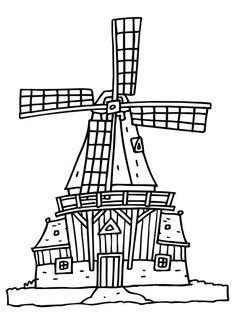 Kleurplaat molen Holland Windmills, Landscape Drawings, Colouring Pages, Embroidery, Prints, Painting, Acrylics, Mittens, Amsterdam