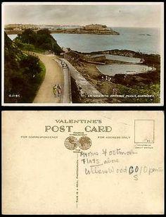 Guernsey Old RP Postcard La Valletta Bathing Pools Street Scene Harbour Panorama