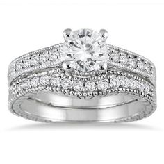 1 ct Rd D/VVS1 Diamond 925 Sterling Silver Solitaire Engagement Bridal Ring Set #Jewelsbyeanda