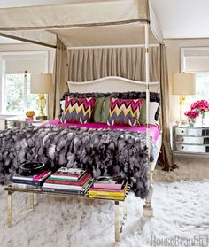 Designer Martyn Lawrence Bullard's canopied Jaipur bed in the master bedroom was inspired by a bed that belonged to Babe Paley.