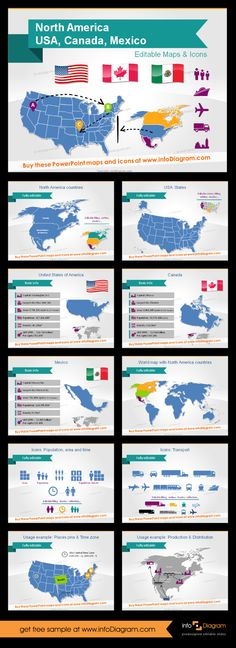 Map of North America, editable in vector format. This is PowerPoint template with a bunch of maps and icons to visualise supply chain routes, gdp, economic stats. You can use it to make infographics or slide decks which require visuals with maps. #map #northamerica #canada #usa #us #mexico #theme #template