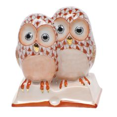 """Herend Hand Painted Porcelain Figurine """"Pair Of Owls On Book"""" Rust Fishnet Gold Accents."""