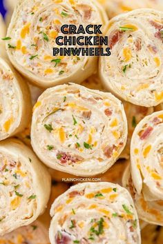 Crack Chicken Pinwheels - I am ADDICTED to these sandwiches! Cream cheese, cheddar, bacon, ranch and chicken wrapped in a tortilla. So simple to make with rotisserie chicken and precooked bacon. Can make ahead of time and refrigerate until ready to eat. Finger Food Appetizers, Yummy Appetizers, Appetizers For Party, Finger Food Recipes, Snacks For Party, Chicken Appetizers, Food For Parties, Simple Appetizers, Make Ahead Appetizers