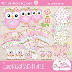 Kit de decoraciones para cumpleaños de niñas para imprimir Lechucitas  - Tarjetas Imprimibles