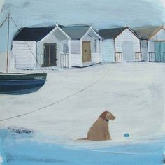 hannah cole: waiting by the old beach huts (acrylic on c. New Artists, Famous Artists, Cartoon Dog, Dog Cartoons, Mosaic Art Projects, Sea Illustration, British Seaside, Naive Art, Beach Scenes