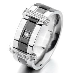 JBlue Jewelry Men's Stainless Steel Rings Band CZ Silver Black Wedding Charm Elegant (with Gift Bag)